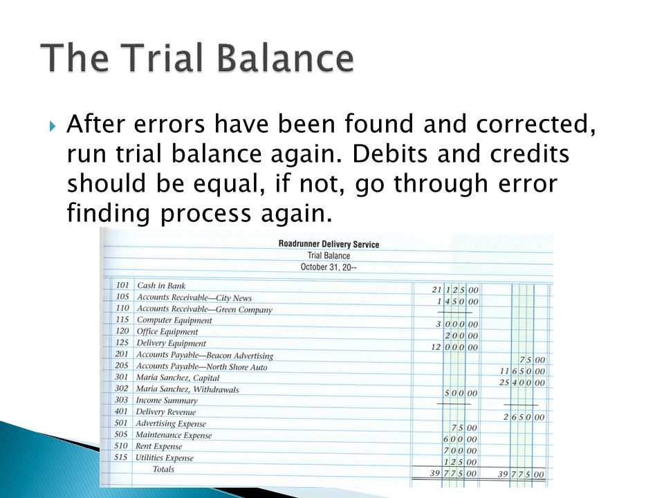  After errors have been found and corrected, run trial balance again.