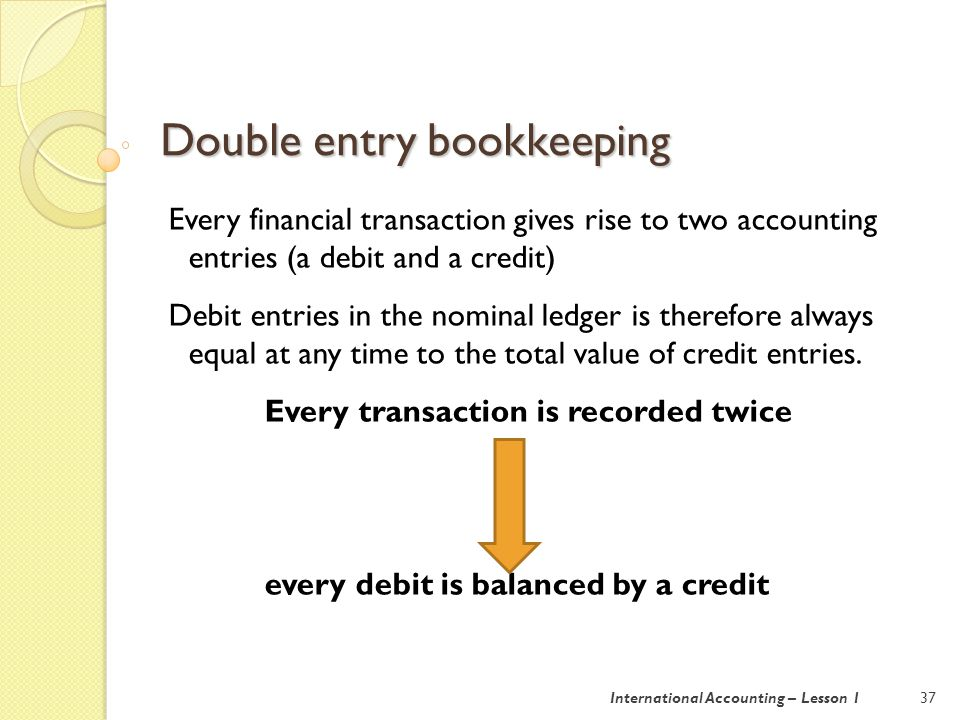 Double entry bookkeeping 37International Accounting – Lesson 1 Every financial transaction gives rise to two accounting entries (a debit and a credit) Debit entries in the nominal ledger is therefore always equal at any time to the total value of credit entries.