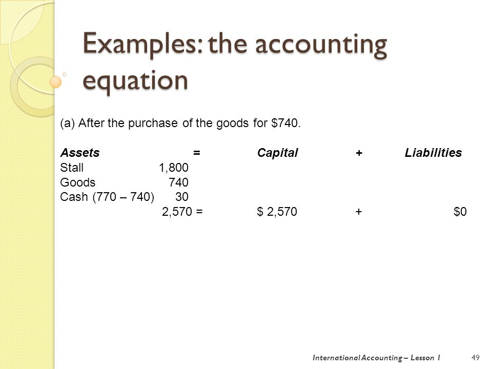 Examples: the accounting equation 49 (a)After the purchase of the goods for $740.