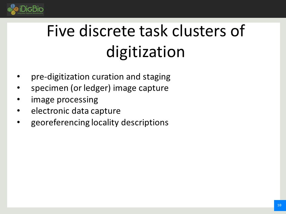 10 pre-digitization curation and staging specimen (or ledger) image capture image processing electronic data capture georeferencing locality descriptions Five discrete task clusters of digitization