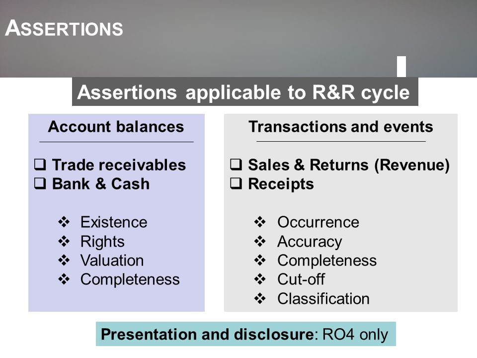 A SSERTIONS Transactions and events  Sales & Returns (Revenue)  Receipts  Occurrence  Accuracy  Completeness  Cut-off  Classification Account b