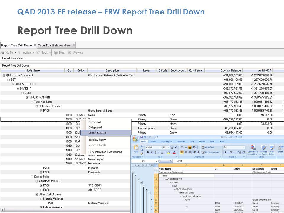QAD Customer Day – Santa Clara, CA 15 Report Tree Drill Down QAD 2013 EE release – FRW Report Tree Drill Down