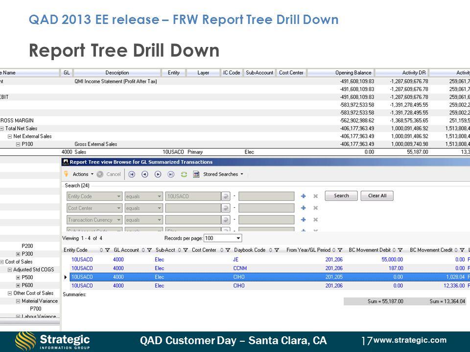 QAD Customer Day – Santa Clara, CA 17 Report Tree Drill Down QAD 2013 EE release – FRW Report Tree Drill Down