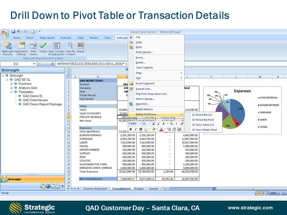 QAD Customer Day – Santa Clara, CA Drill Down to Pivot Table or Transaction Details