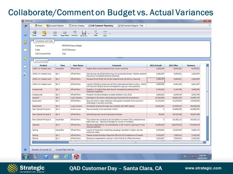 QAD Customer Day – Santa Clara, CA Collaborate/Comment on Budget vs. Actual Variances