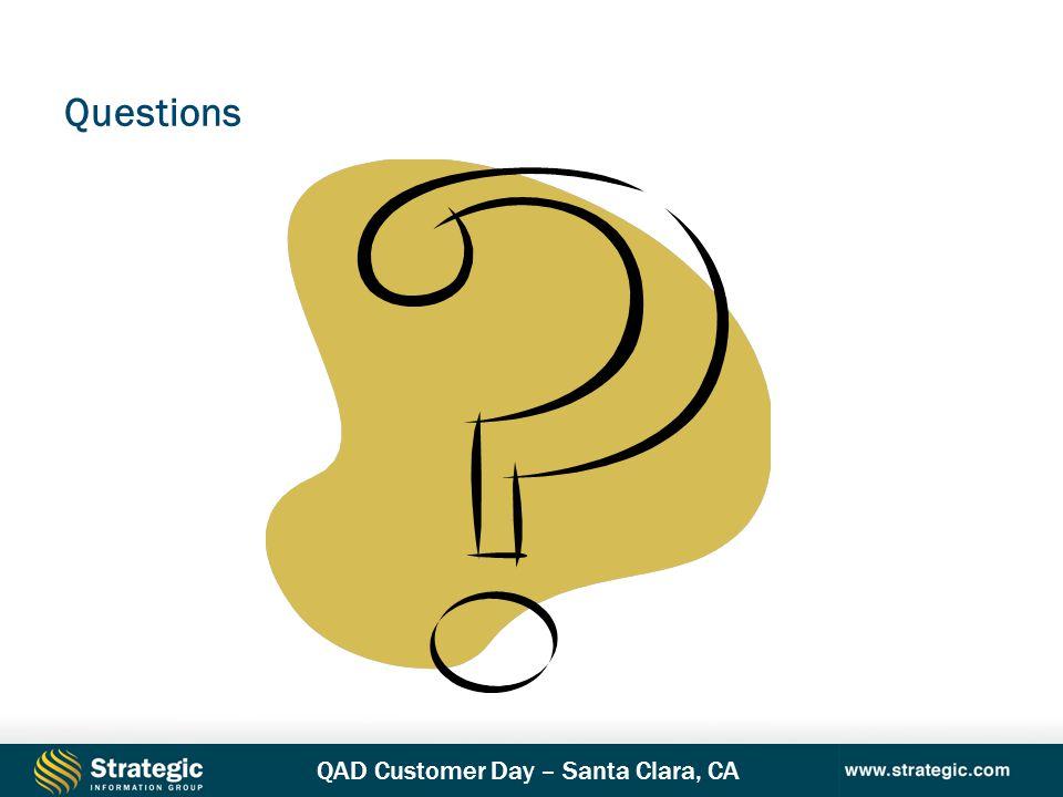 QAD Customer Day – Santa Clara, CA Questions