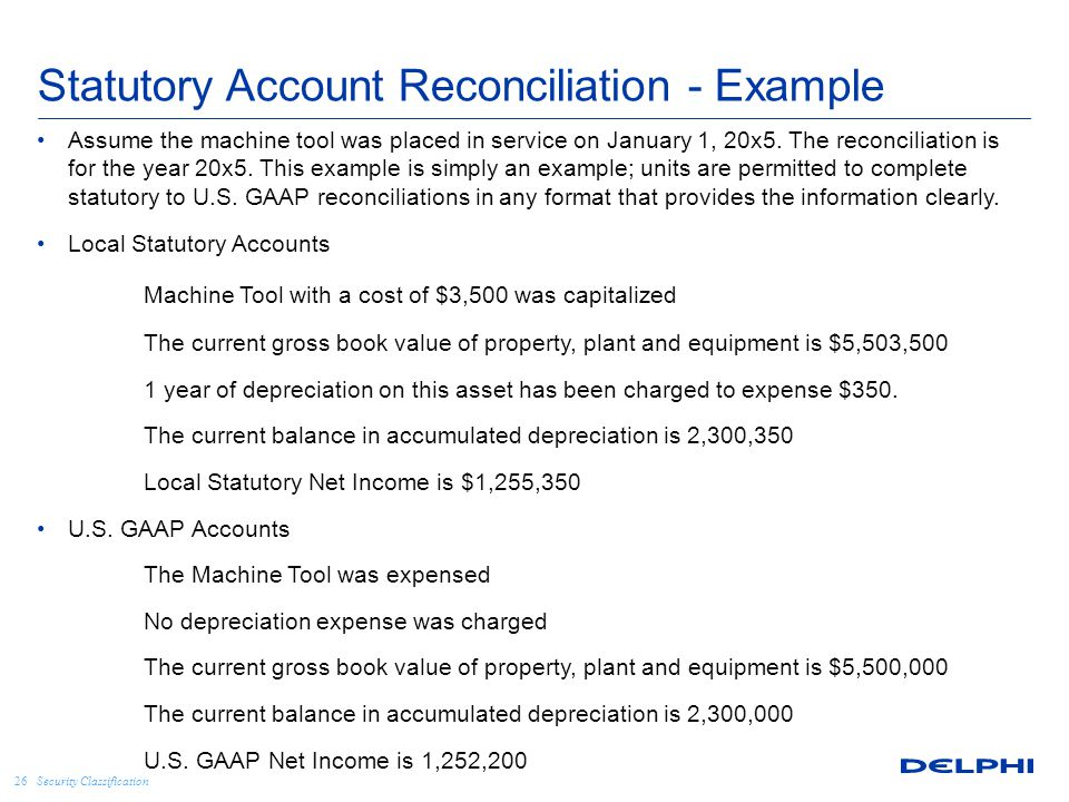 Security Classification Statutory Account Reconciliation - Example Assume the machine tool was placed in service on January 1, 20x5. The reconciliatio