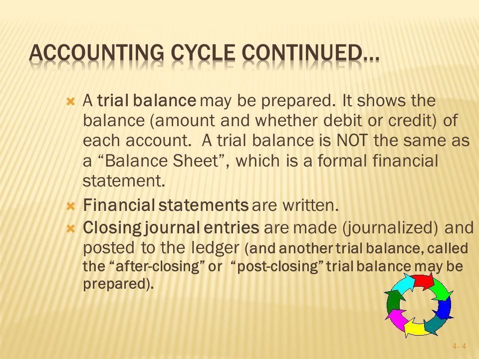 4- 4  A trial balance may be prepared.