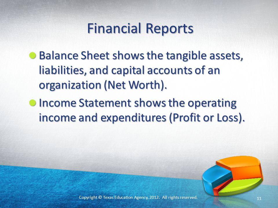 Copyright © Texas Education Agency, 2012. All rights reserved. Financial Reports Balance Sheet shows the tangible assets, liabilities, and capital acc