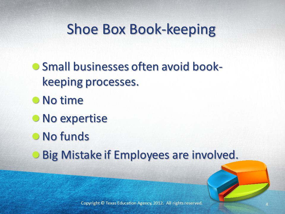 Copyright © Texas Education Agency, 2012. All rights reserved. Shoe Box Book-keeping Small businesses often avoid book- keeping processes. Small busin