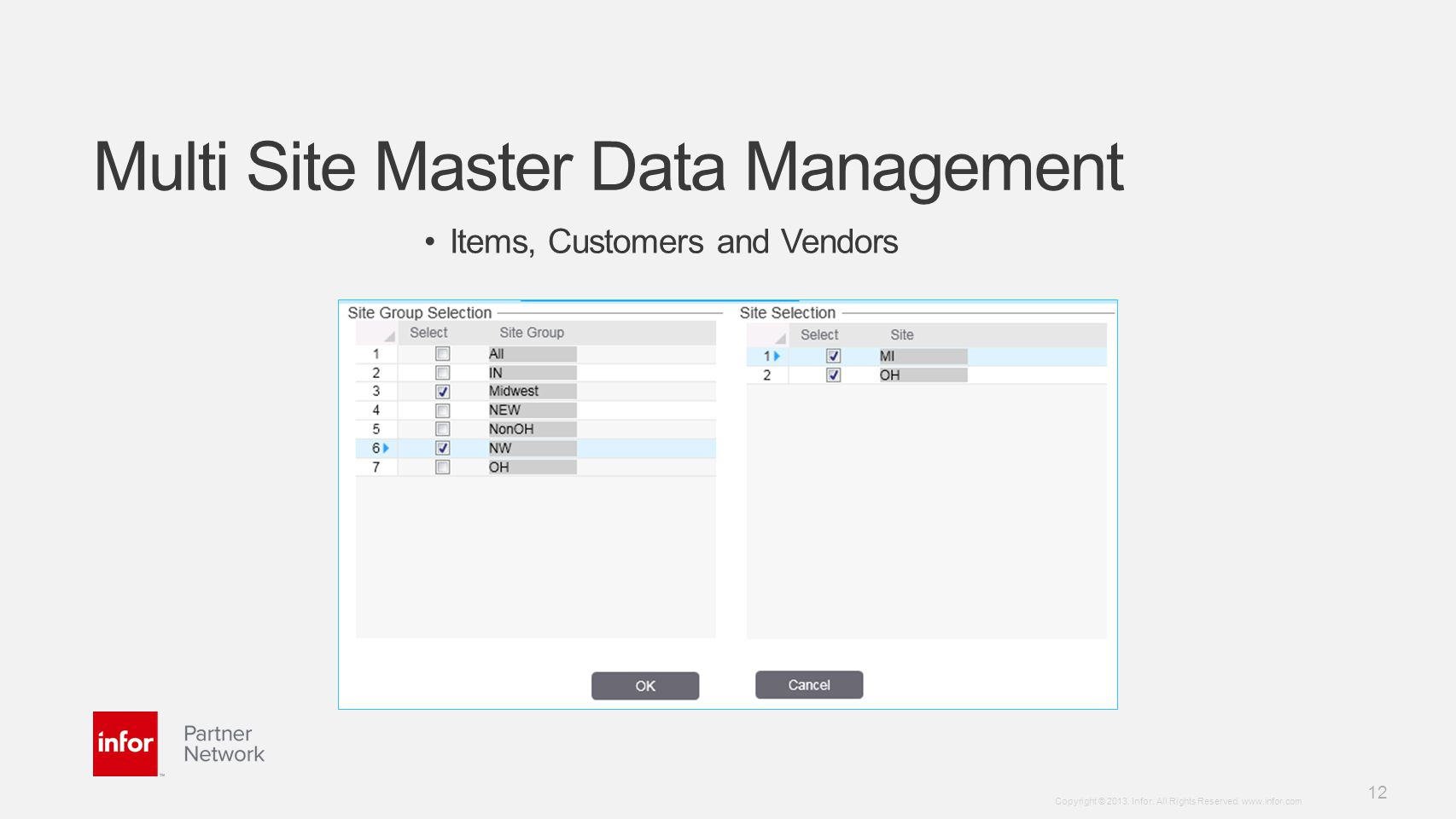 Template v5 October 12, 2012 12 Copyright © 2013. Infor. All Rights Reserved. www.infor.com Multi Site Master Data Management Items, Customers and Ven