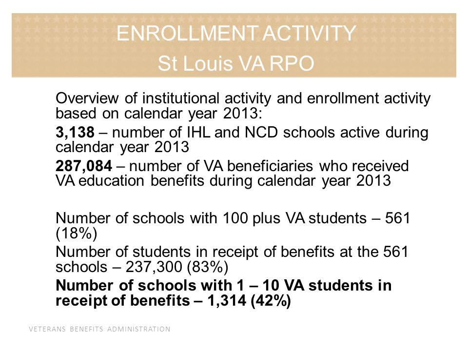 VETERANS BENEFITS ADMINISTRATION Overview of institutional activity and enrollment activity based on calendar year 2013: 3,138 – number of IHL and NCD