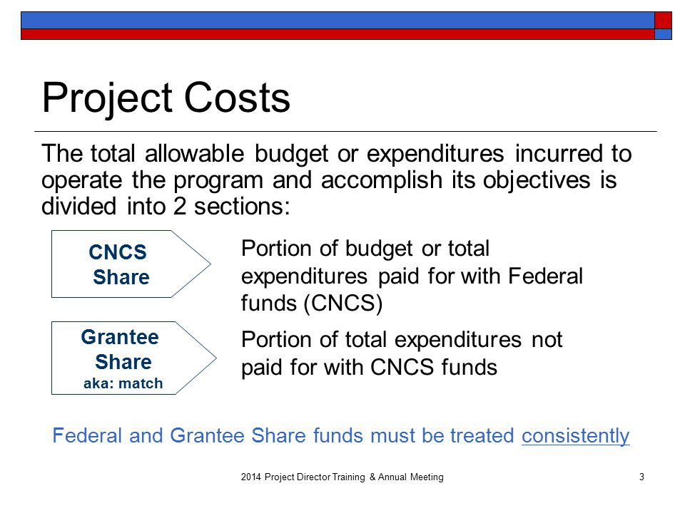 Project Costs The total allowable budget or expenditures incurred to operate the program and accomplish its objectives is divided into 2 sections: 3 CNCS Share Grantee Share aka: match Portion of total expenditures not paid for with CNCS funds Portion of budget or total expenditures paid for with Federal funds (CNCS) Federal and Grantee Share funds must be treated consistently 2014 Project Director Training & Annual Meeting
