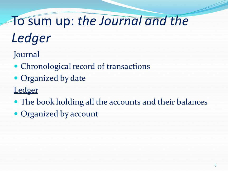 To sum up: the Journal and the Ledger Journal Chronological record of transactions Organized by date Ledger The book holding all the accounts and thei