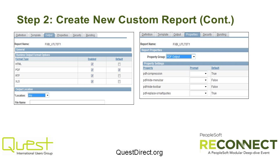 QuestDirect.org Step 2: Create New Custom Report (Cont.)