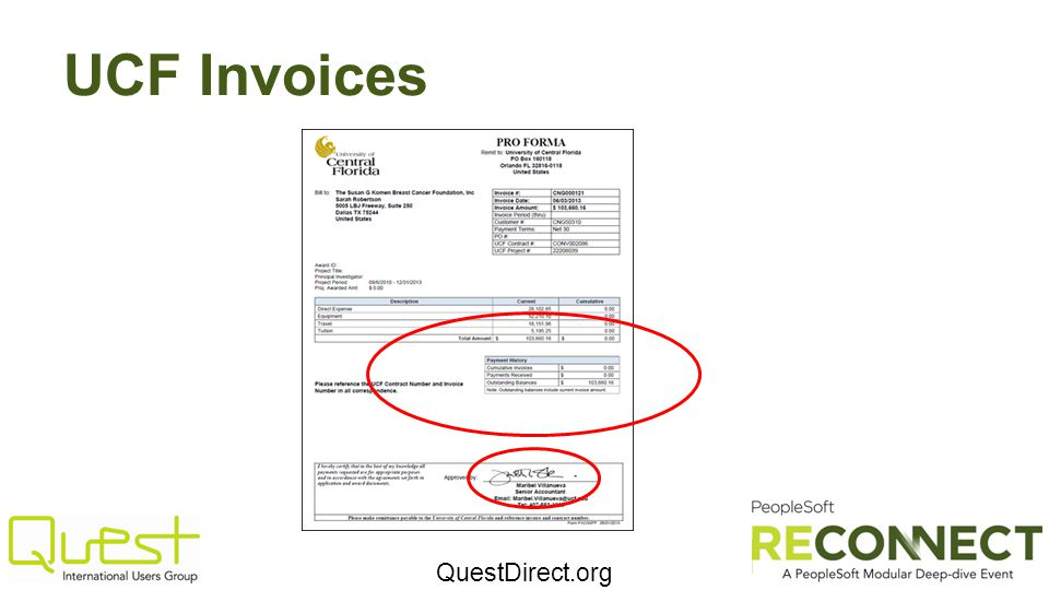 QuestDirect.org UCF Invoices