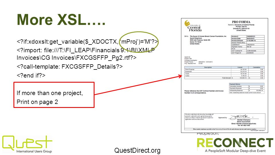 QuestDirect.org More XSL…. If more than one project, Print on page 2