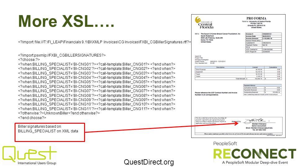 QuestDirect.org More XSL…. UnknownBiller Biller signatures based on BILLING_SPECIALIST on XML data