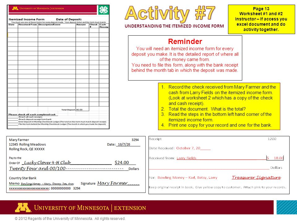 © 2012 Regents of the University of Minnesota. All rights reserved.