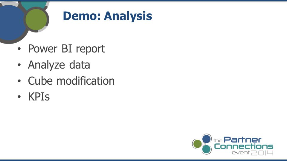 Power BI report Analyze data Cube modification KPIs Demo: Analysis
