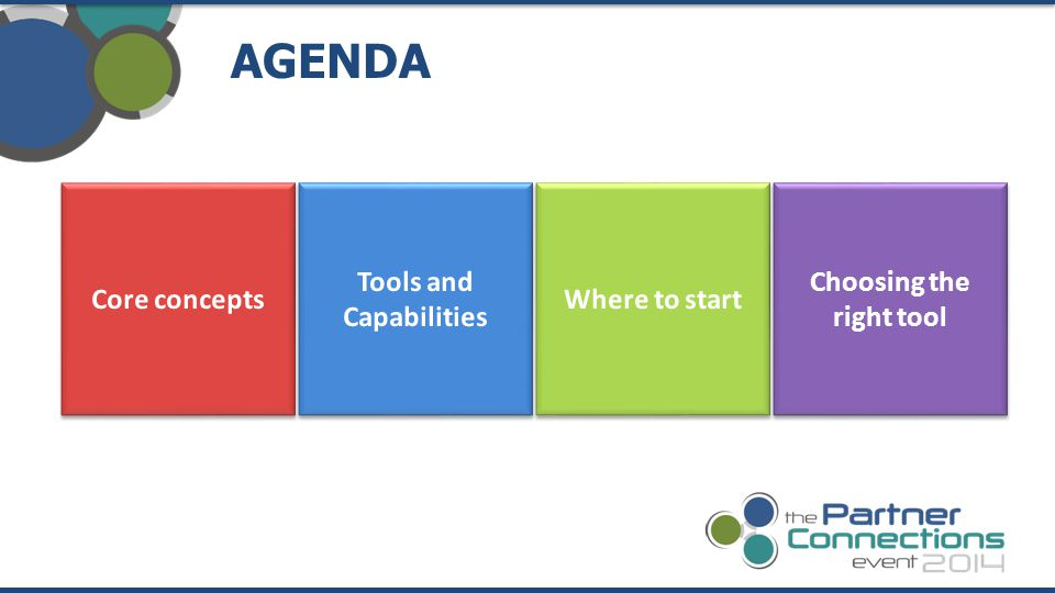AGENDA Choosing the right tool