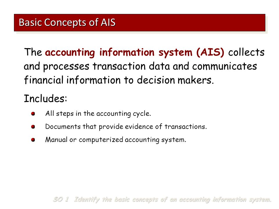 The accounting information system (AIS) collects and processes transaction data and communicates financial information to decision makers. Includes: A