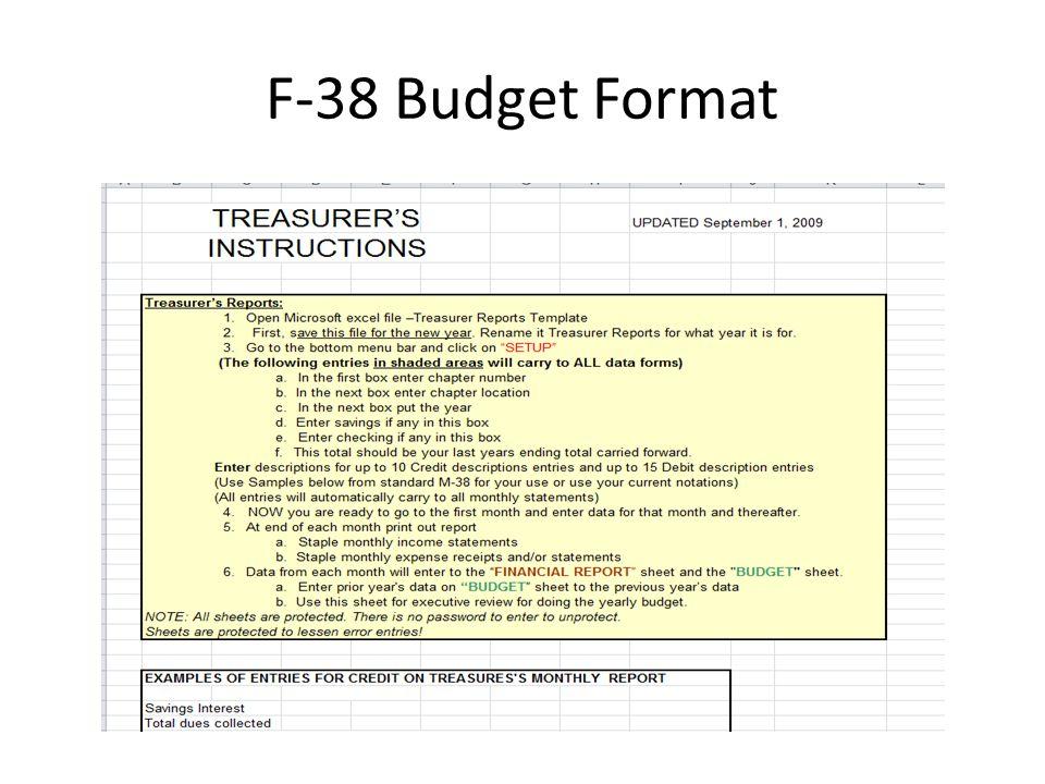 F-38 Budget Format