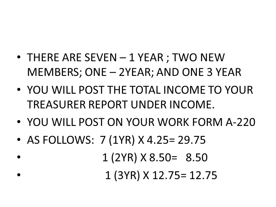 THERE ARE SEVEN – 1 YEAR ; TWO NEW MEMBERS; ONE – 2YEAR; AND ONE 3 YEAR YOU WILL POST THE TOTAL INCOME TO YOUR TREASURER REPORT UNDER INCOME.