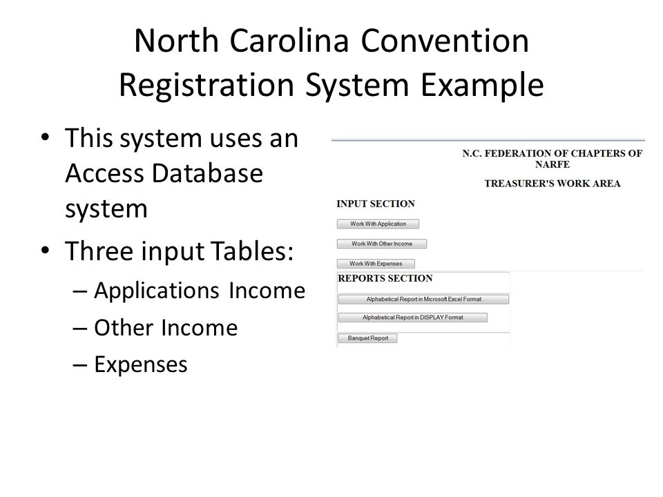 North Carolina Convention Registration System Example This system uses an Access Database system Three input Tables: – Applications Income – Other Income – Expenses