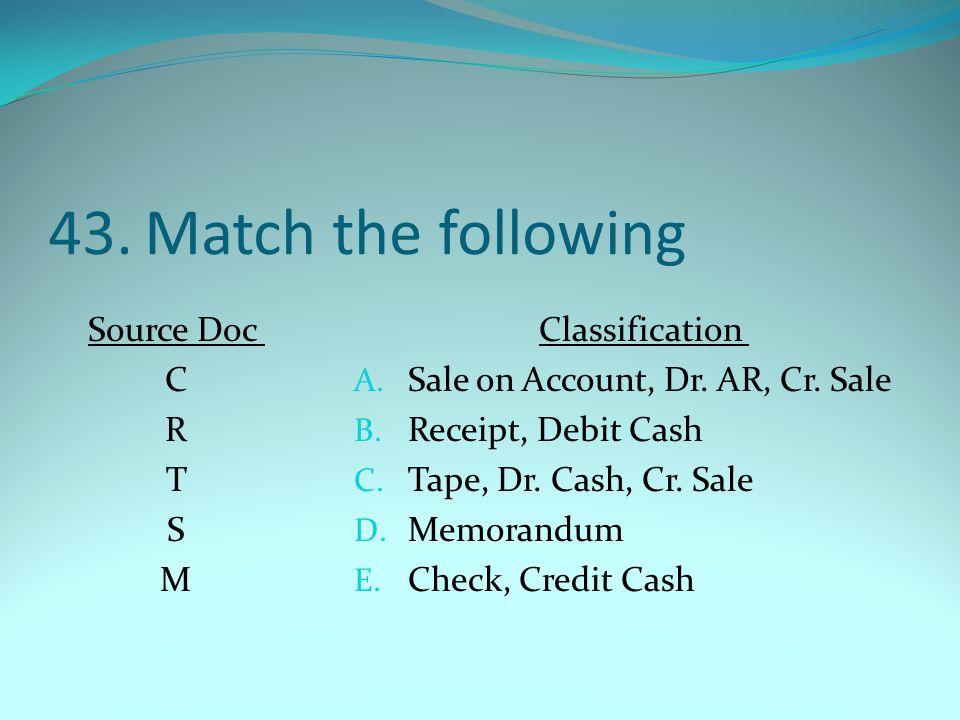 43.Match the following Source Doc C R T S M Classification A. Sale on Account, Dr. AR, Cr. Sale B. Receipt, Debit Cash C. Tape, Dr. Cash, Cr. Sale D.