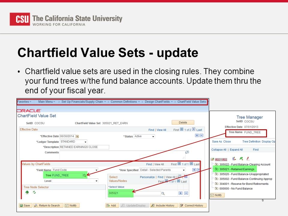 Chartfield Value Sets - update Chartfield value sets are used in the closing rules. They combine your fund trees w/the fund balance accounts. Update t