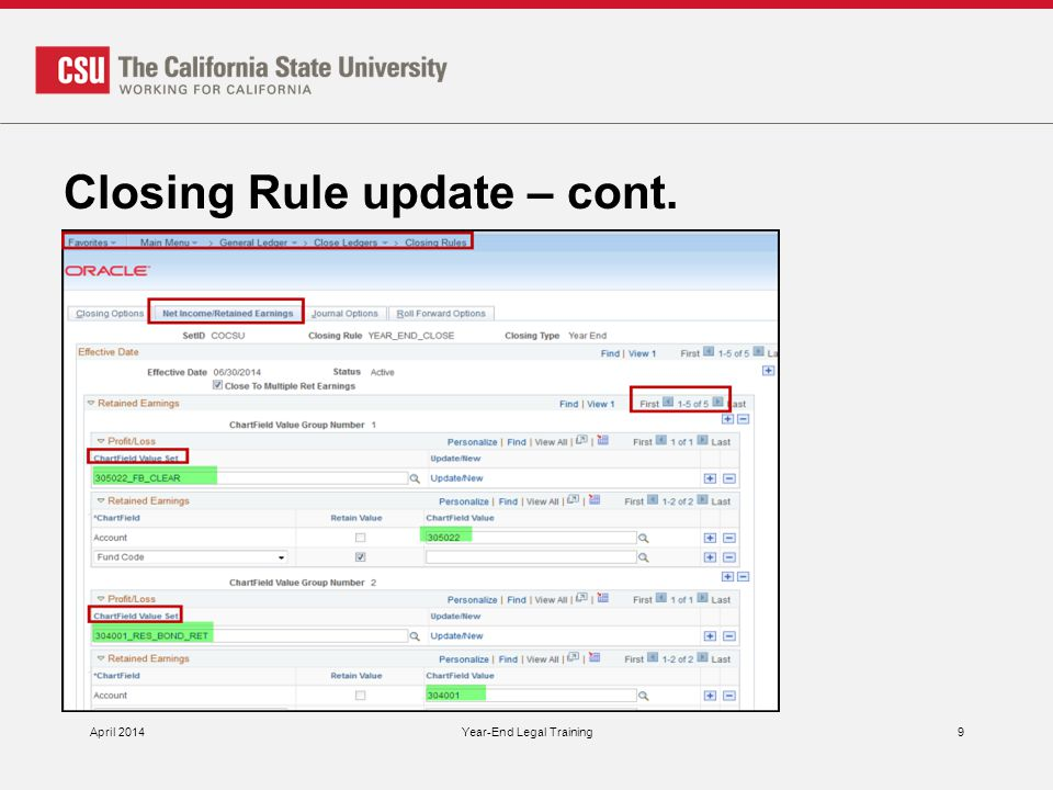 Closing Rule update – cont. April 2014Year-End Legal Training9