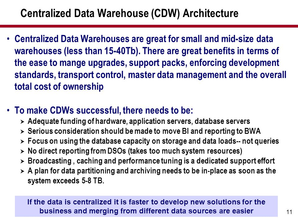 11 Centralized Data Warehouse (CDW) Architecture Centralized Data Warehouses are great for small and mid-size data warehouses (less than 15-40Tb). The