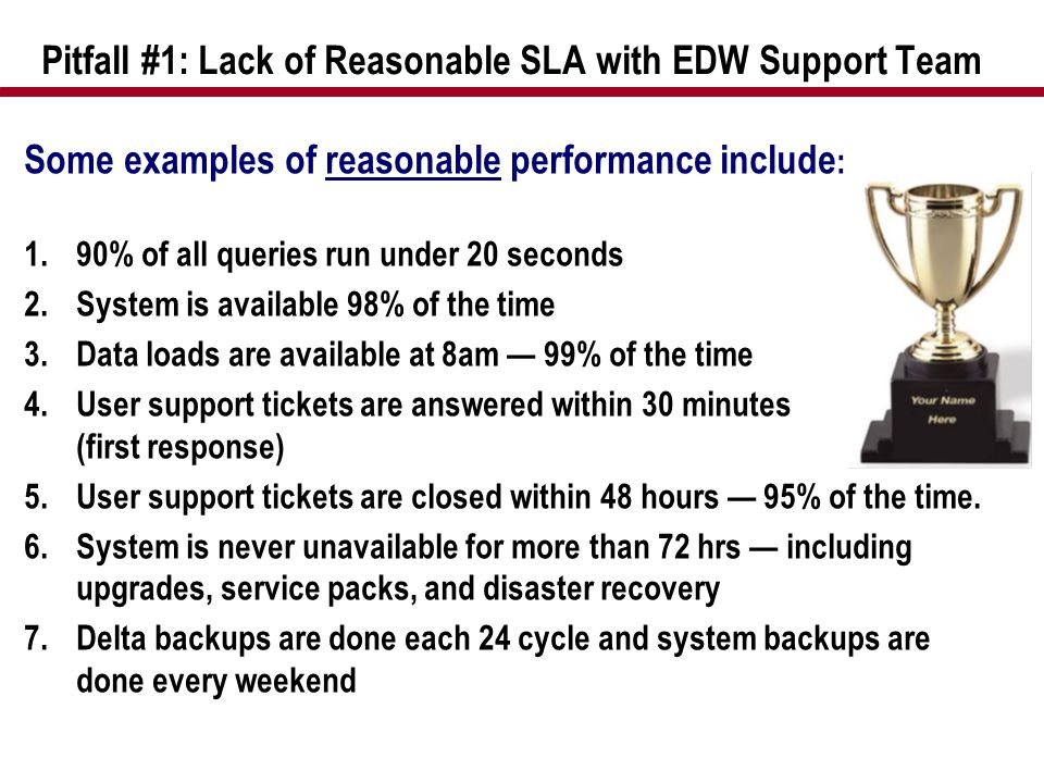 Pitfall #1: Lack of Reasonable SLA with EDW Support Team Some examples of reasonable performance include : 1.90% of all queries run under 20 seconds 2