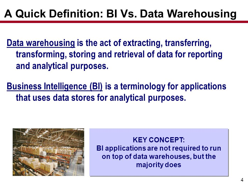 4 A Quick Definition: BI Vs. Data Warehousing Data warehousing is the act of extracting, transferring, transforming, storing and retrieval of data for