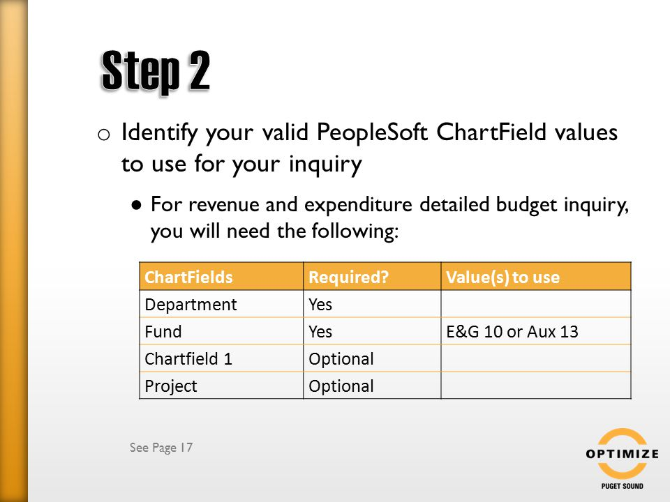o Identify your valid PeopleSoft ChartField values to use for your inquiry ● For revenue and expenditure detailed budget inquiry, you will need the following: See Page 17 ChartFieldsRequired?Value(s) to use DepartmentYes FundYesE&G 10 or Aux 13 Chartfield 1Optional ProjectOptional