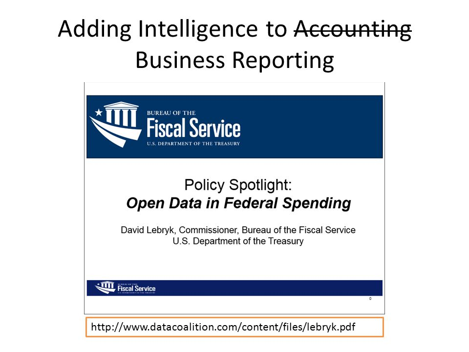 Adding Intelligence to Accounting Business Reporting http://www.datacoalition.com/content/files/lebryk.pdf
