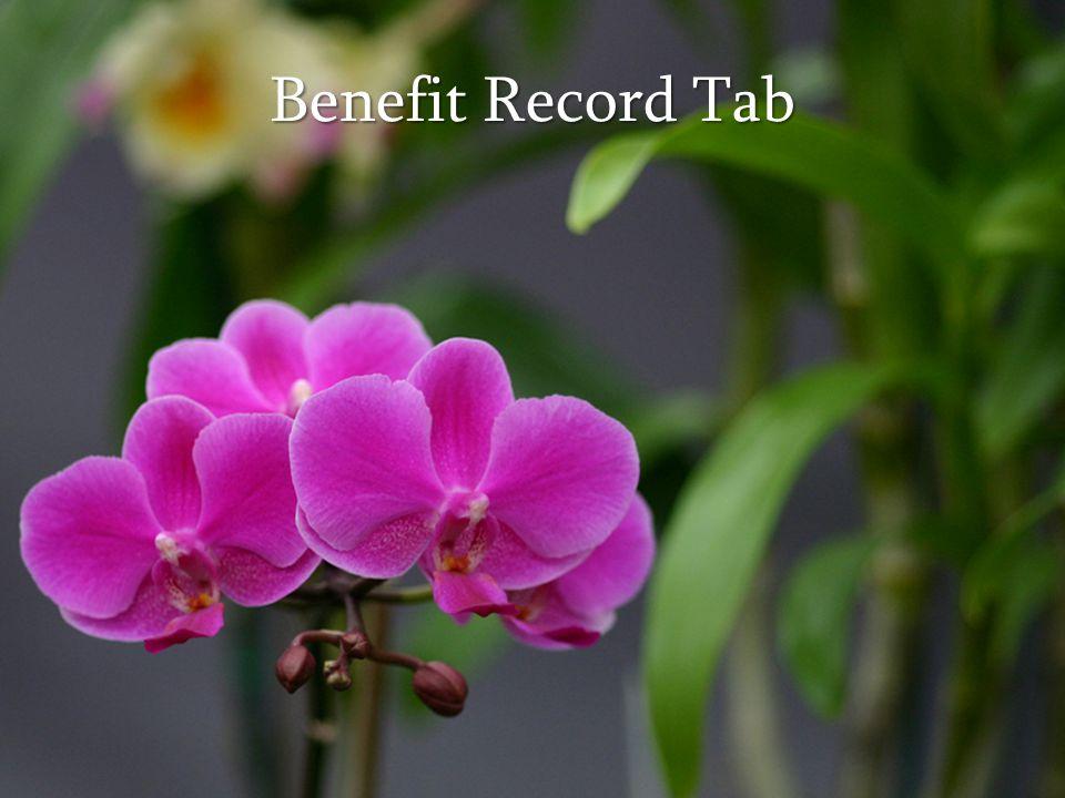 Benefit Record Tab