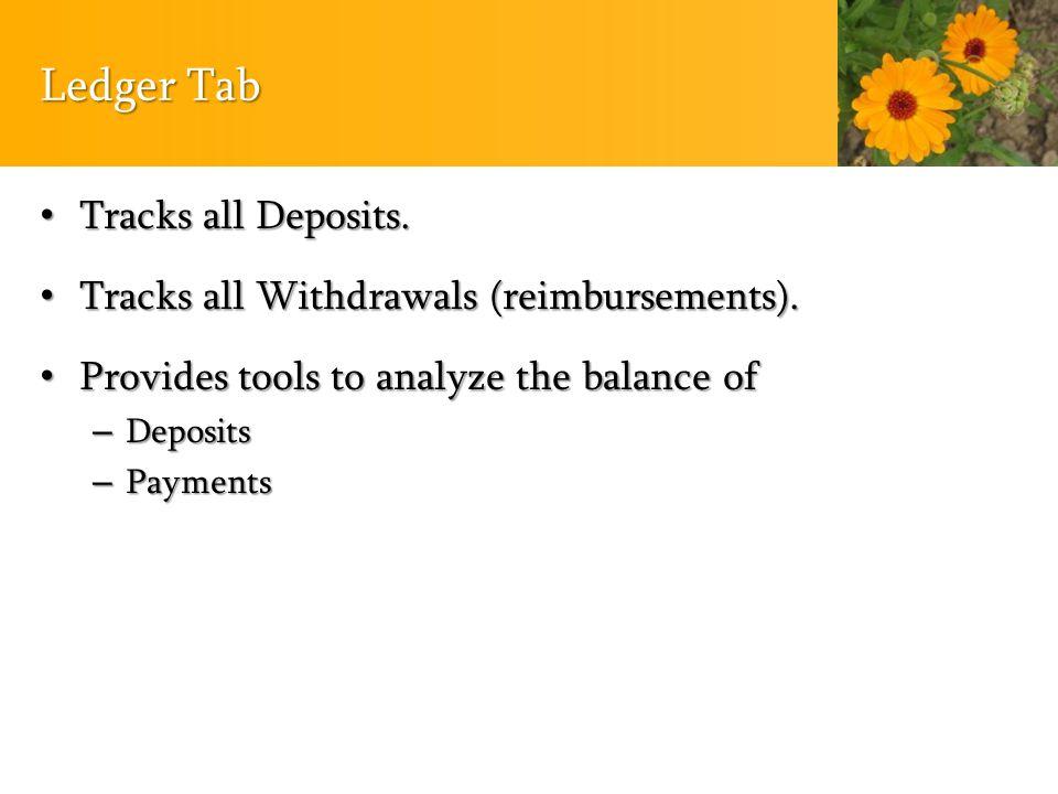 Ledger Tab Tracks all Deposits. Tracks all Deposits.