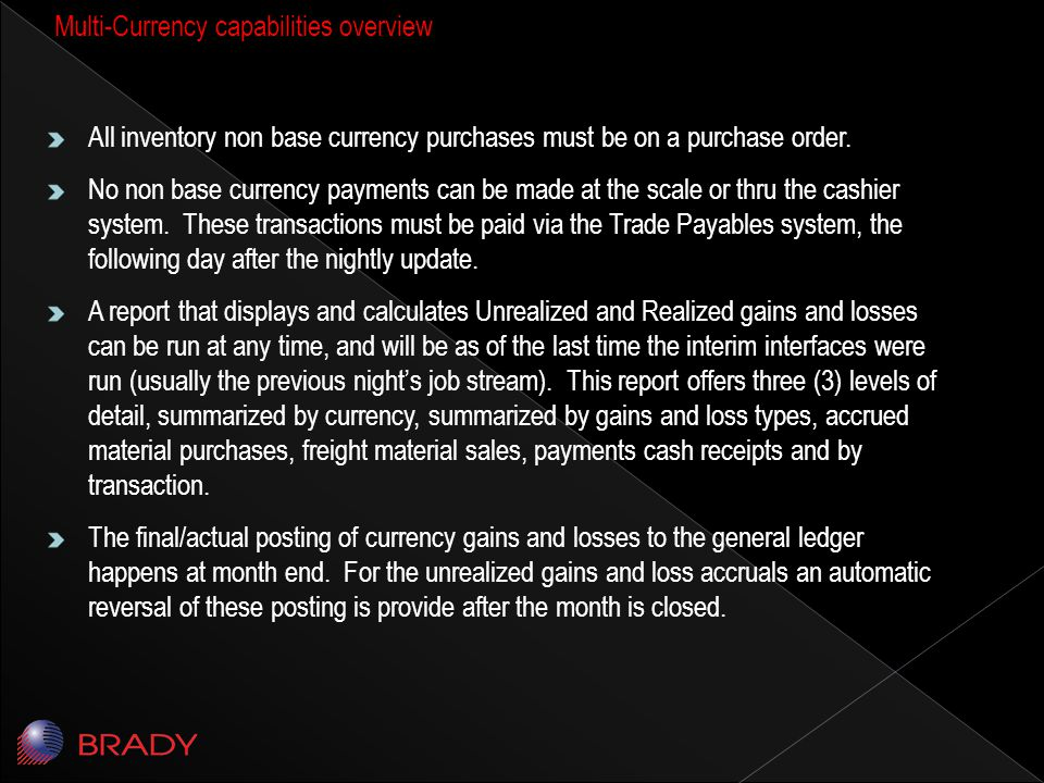 All inventory non base currency purchases must be on a purchase order.