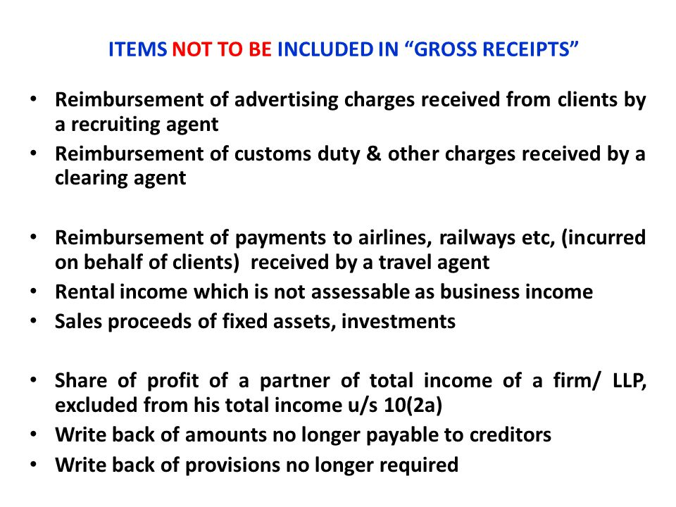 """ITEMS NOT TO BE INCLUDED IN """"GROSS RECEIPTS"""" Reimbursement of advertising charges received from clients by a recruiting agent Reimbursement of customs"""