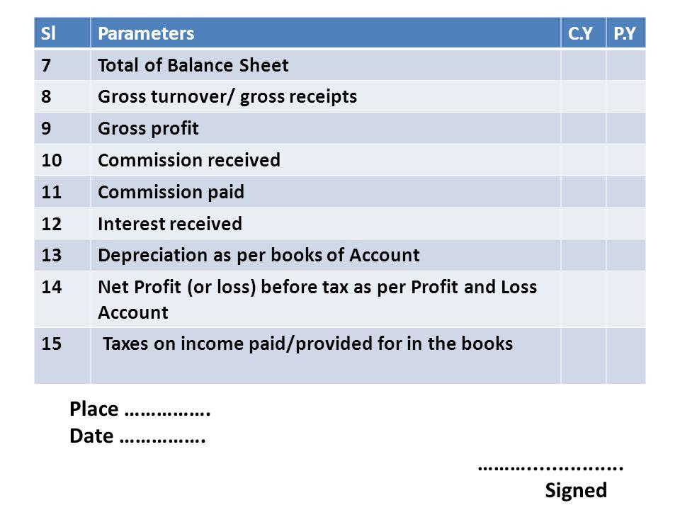 SlParametersC.YP.Y 7Total of Balance Sheet 8Gross turnover/ gross receipts 9Gross profit 10Commission received 11Commission paid 12Interest received 1