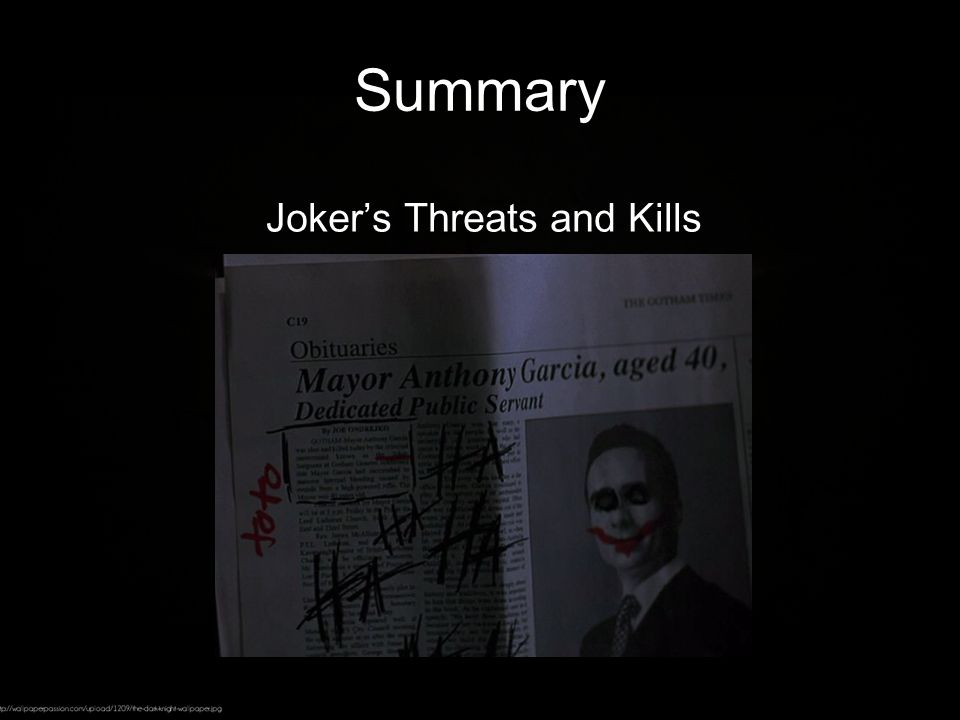 Summary Joker's Threats and Kills