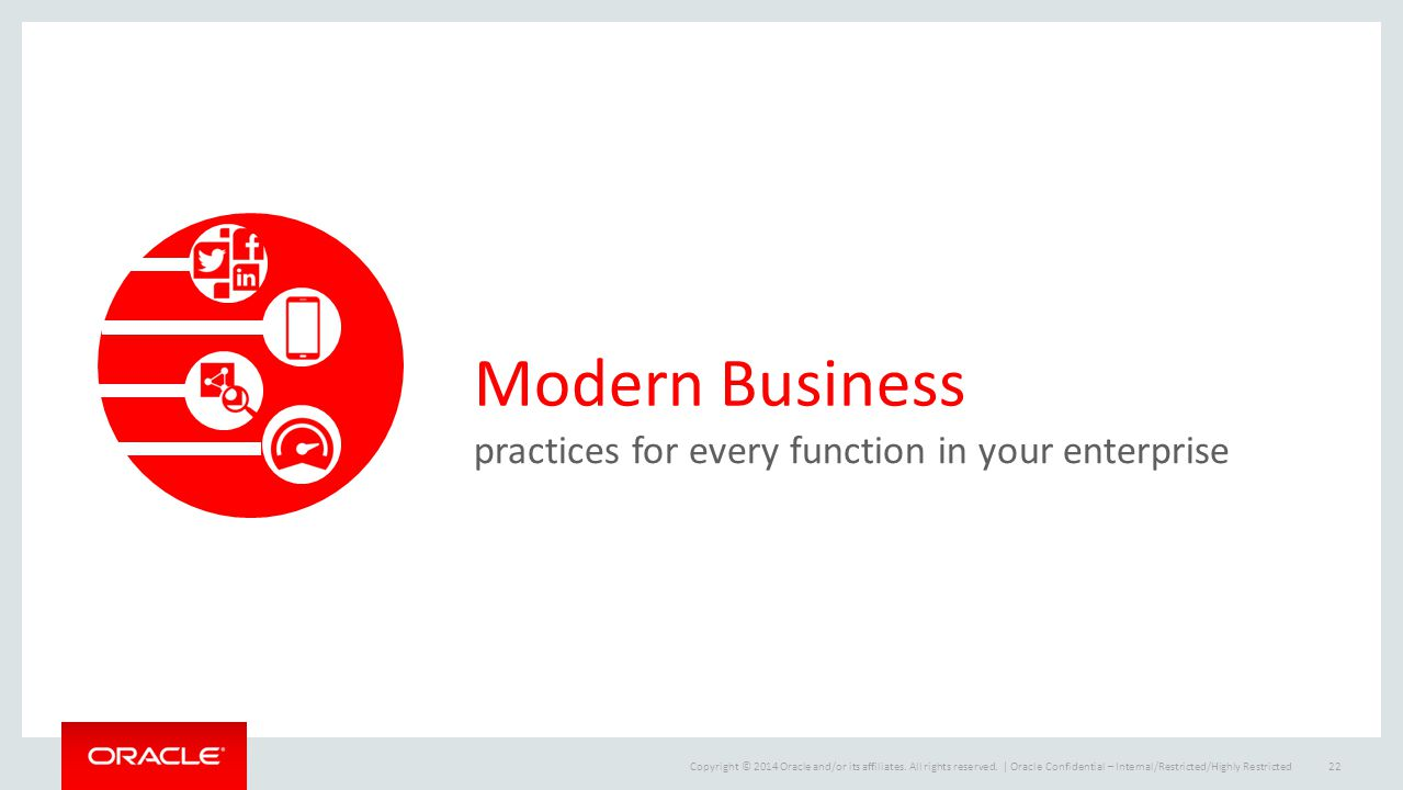 Copyright © 2014 Oracle and/or its affiliates. All rights reserved.   Modern Business practices for every function in your enterprise Oracle Confident