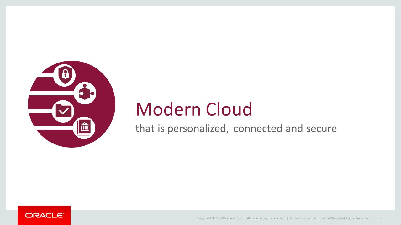 Copyright © 2014 Oracle and/or its affiliates. All rights reserved.   Modern Cloud that is personalized, connected and secure Oracle Confidential – In