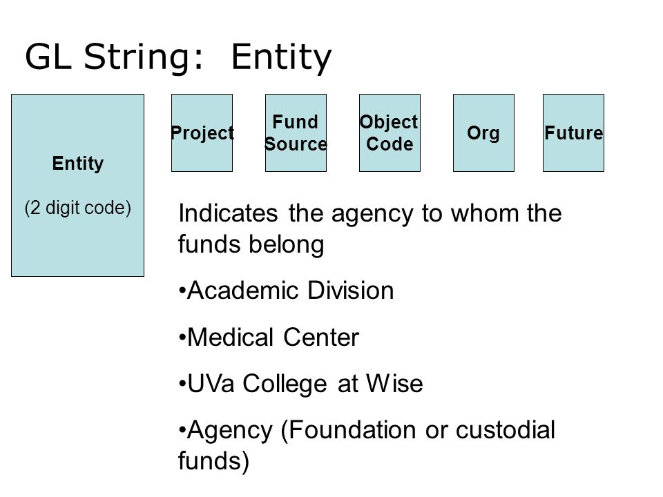 GL String: Entity Entity (2 digit code) ProjectFutureOrg Object Code Fund Source Indicates the agency to whom the funds belong Academic Division Medical Center UVa College at Wise Agency (Foundation or custodial funds)