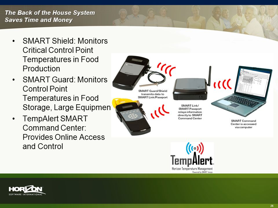 The Back of the House System Saves Time and Money 26 SMART Shield: Monitors Critical Control Point Temperatures in Food Production SMART Guard: Monitors Control Point Temperatures in Food Storage, Large Equipment TempAlert SMART Command Center: Provides Online Access and Control