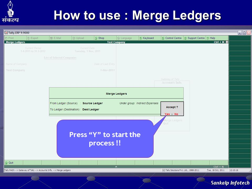 """Press """"Y"""" to start the process !! How to use : Merge Ledgers"""