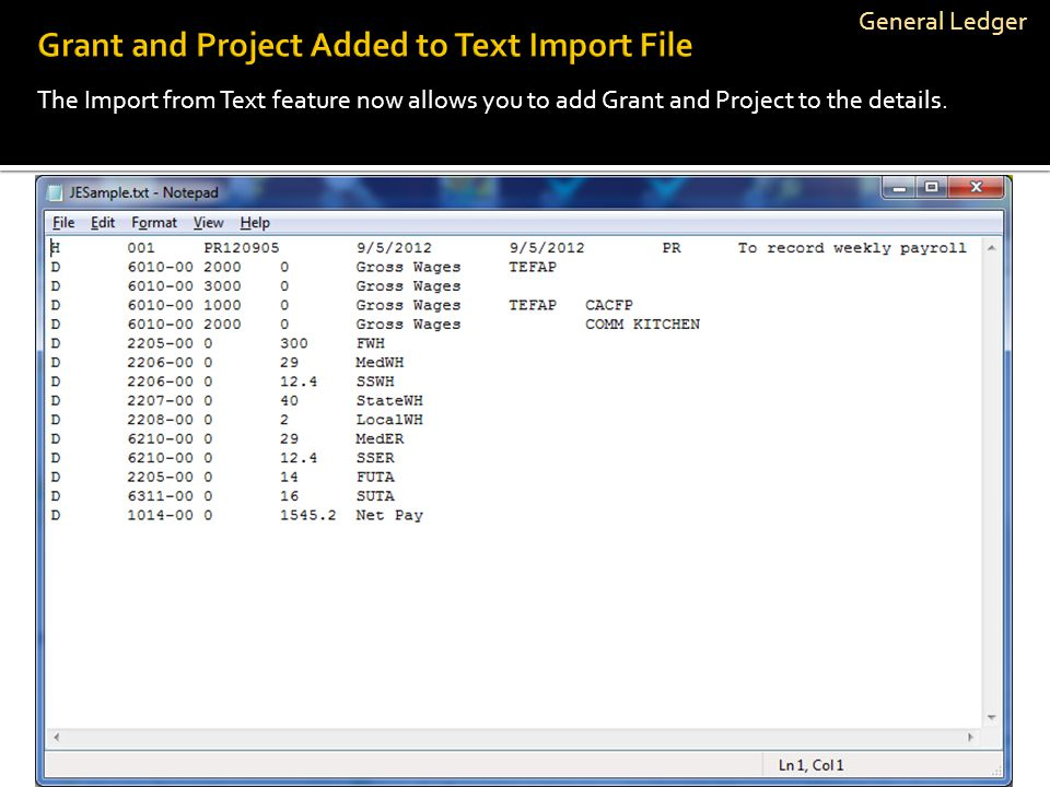 General Ledger The Import from Text feature now allows you to add Grant and Project to the details.