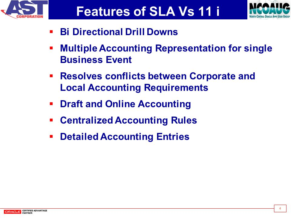 4 Features of SLA Vs 11 i  Bi Directional Drill Downs  Multiple Accounting Representation for single Business Event  Resolves conflicts between Corporate and Local Accounting Requirements  Draft and Online Accounting  Centralized Accounting Rules  Detailed Accounting Entries